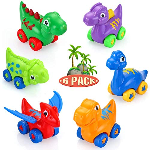 VATOS Baby Toy Dinosaur Car, 6 Pack Pull Back Car Toys for 1 2 3 Year Old Boy & Girl   Dino Car Toys for Toddler & Kids Toy Car Creative Gifts for Kids, Animal Vehicles Party Favors