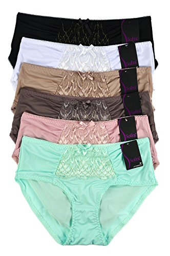 Sofra Teejoy Women's Assorted Extended Sideseams Polyester Bikini Panties (6 Pack) (X-Large)