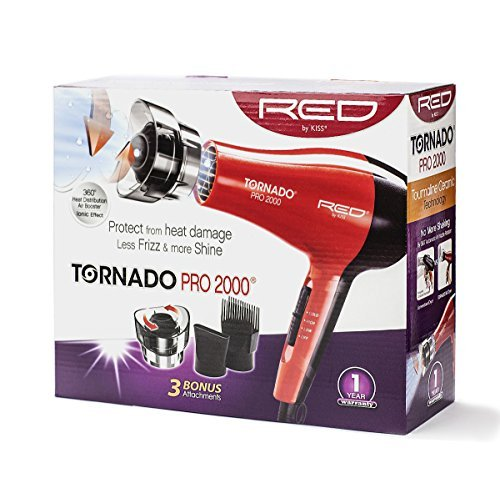 Kiss Red Dryer 2000 Watt With 3 Attachments Tornado by Kiss