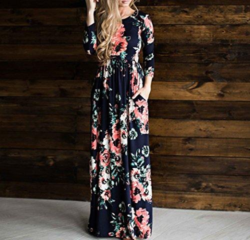Bewish Des Femmes De Style Rétro Floral Encolure Ras Du Cou Imprimé À Manches Longues Haute Bleu Marine Robe Maxi Taille