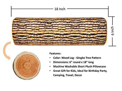Pillowcase Ultra Soft Short Plush Cover Wood Log Gingko Tree Pattern for Neck Roll and Cervical Bolster Round Pillow of LitoTree (18x6 inch Pillowcase Log) ()