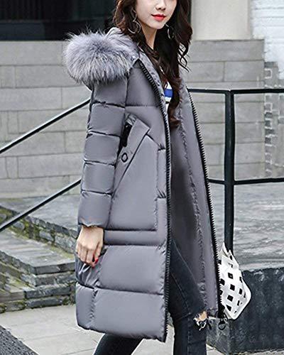 Manteau Spcial clair Trench Style Poches Manches Gaine Avant Hiver A Manteaux Grau avec Chaud Longues Femme Capuche Doudoune Branch Fermeture Unicolore Coat 877gIr