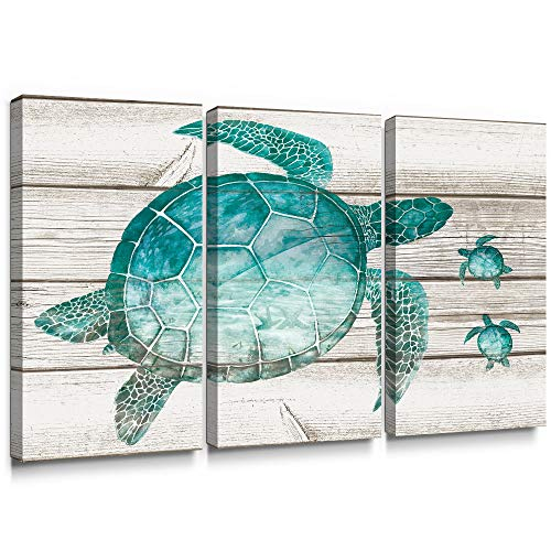 SUMGAR Large Wall Art for Living Room Teal Sea Turtle Wall Decor Vintage Paintings on Canvas Framed Prints,16x32x3p Beach Cottage Wall Art