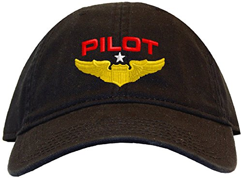Spiffy Custom Gifts Pilot with Wings Low Profile Baseball Cap Black - Airplane Pilot Hat