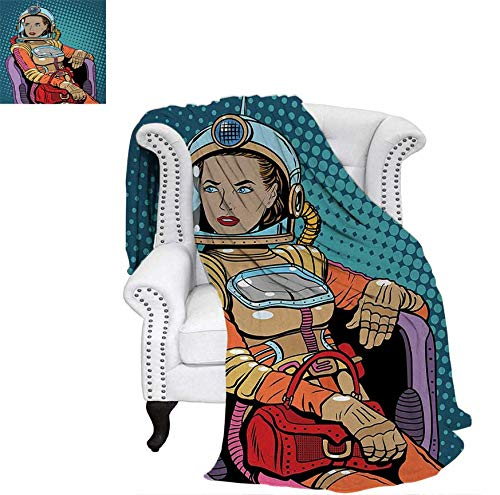 Astronaut Beach Blanket Retro Inspired Space Lady with Purse on a Chair Girl Power Womens Day Weighted Blanket 50 x 30 inch Petrol Blue Multicolor