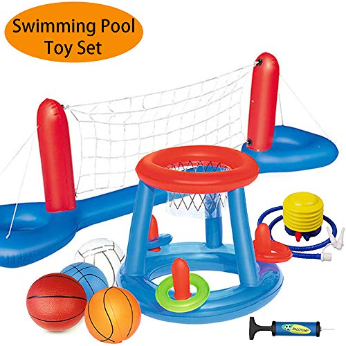 - MICROFIRE Floating Pool Basketball Hoop and Volleyball Net Pool Games Toys Water Inflatable Hoop Sports Set