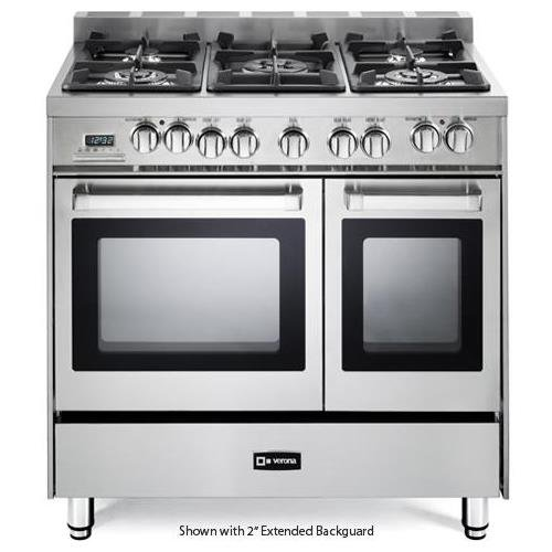 Verona VEFSGE365NDSS 36' Pro-Style Dual-Fuel Range with 5 Sealed Burners, 2 European Convection Ovens, Multi Function Programmable Ovens and Storage Drawer: Stainless Steel