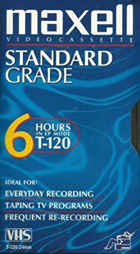 Maxell VHS Blank 3-Pack Standard Grade T-120 6 hour EP Mode /246m by Maxell