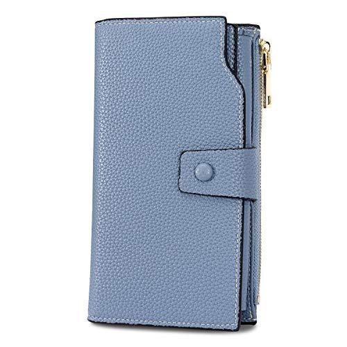 (WOZEAH Women's RFID Blocking Large Capacity Luxury Wax PU Leather Clutch Wallet Card Holder Organizer Ladies Purse (A blue))