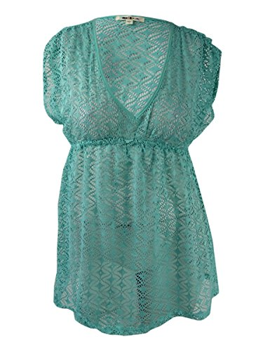 Miken Womens Swim Empire Waist Solid Color Dress Swim Cover-up Green S - Empire Waist Swim Dress