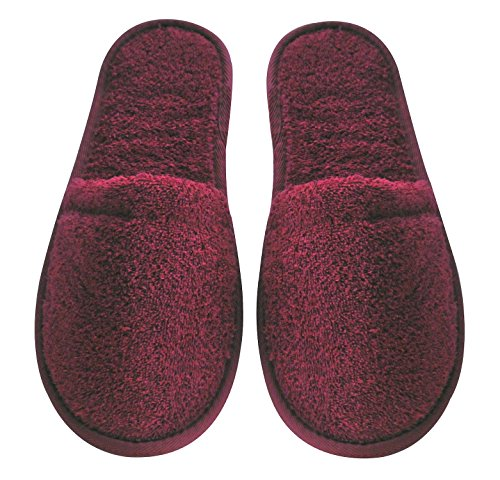 Spa Organic Black Arus Slippers With Sole Cloth Black Fits Most Size Women's One Turkish Cotton with Burgundy Sole Terry Pink xq6rpw6EY