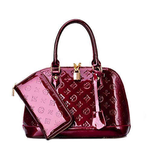 Zzfab Fashion Purse and Wallet Set Maroon (Fake Handbags Louis Vuitton)