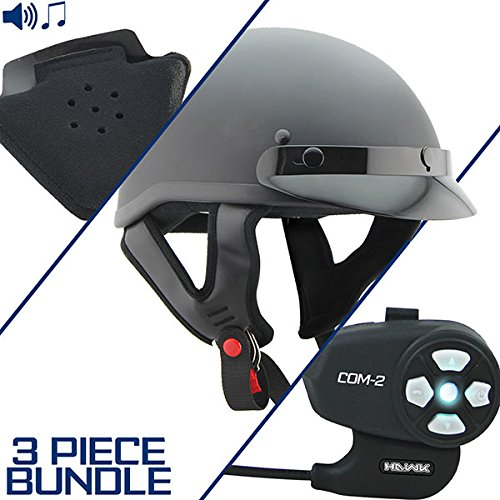 Outlaw T70 DOT Flat Black Half Helmet with Hawk COM-2 Bluetooth Intercom and Sp - Large w/COM-2 Intercom ()