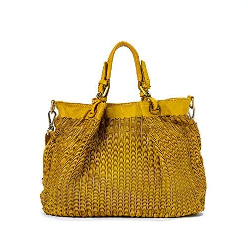 Ira del Valle, Borsa Donna, In Vera Pelle Intrecciata Vintage, Made in Italy, Modello Los Angeles Bag, Borsa Grande a Mano e Spalla con Tracolla da Donna Ragazza senape