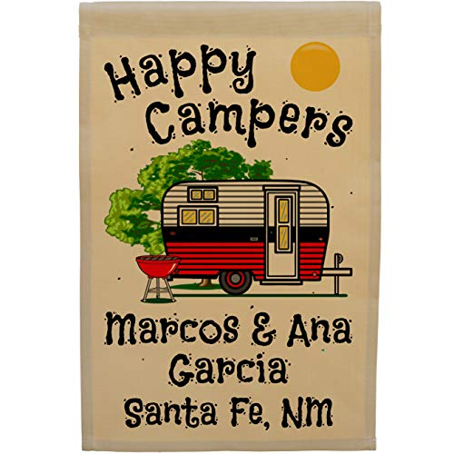 Happy Campers, Retro Camp Trailer Campsite Flag, Custom Camping Sign, Personalized Your Way, Tan (Red/Black) ()