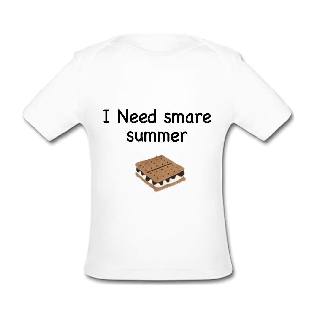 BrowneOLp Infant Tee I Need smare Summer Baby Organic Short Sleeve T-Shirt White