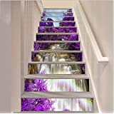 """FLFK 39.3"""" w x 7"""" h x 13pieces 3D Waterfall Purple Flower Trees Stair Risers Sticker Removable Wall Mural- Peel Off…"""