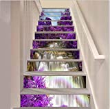 FLFK 39.3' w x 7' h x 13pieces 3D Waterfall Purple Flower Trees Stair Risers Sticker Removable Wall Mural- Peel Off & Stick Wallpaper Home Decor