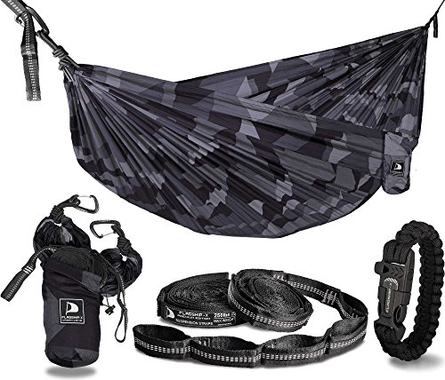 Flagship-X Urban Camo Double 2 Person Camping Hammock Packable for Backpacking - Midnight Camouflage
