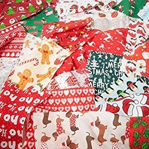 Bolsa de tela, con los retales de Navidad, de fábrica, 100 g, de polialgodón: Amazon.es: Hogar