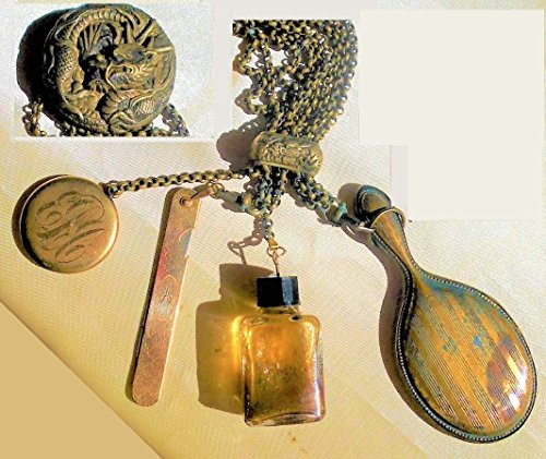 100 Yr Old Brass 3D Dragon Repousse CHATELAINE w/ 9 Brass Chains, Hand Mirror, Bakelite Perfume Bottle, Monogramed Nail File & Compact -