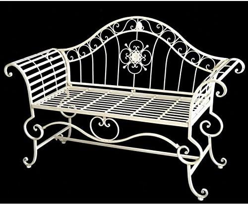 LHéritier Du Temps Banco Estilo Dagoberto – Banqueta Silla Mobiliario de jardín Asiento Exterieur 3 plazas de Hierro Blanco 57 x 93 x 144 cm: Amazon.es: Jardín