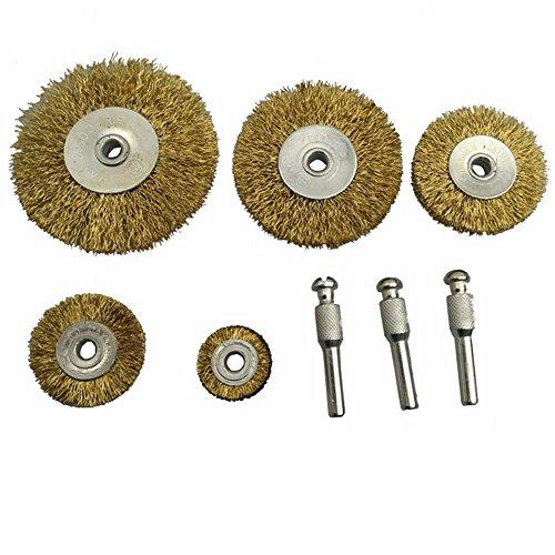 Brass Wire Wheel Brush KangTeer 8pcs Polishing Wheel for Woodworking Buff Buffing Glazer Wood Carving Tools Dremel Deburring DIY Tool 1/4'' Shank Crimped Wire Wheel (3' Crimped Wire Wheel)