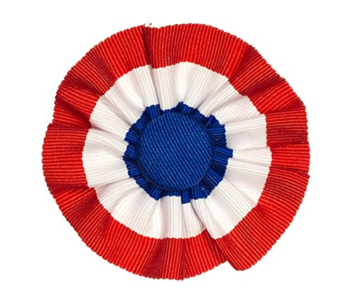 Tri-color Ribbon Cockade Red White and Blue Hat Trim with Brooch Pin Back by Mountain Goth LLC