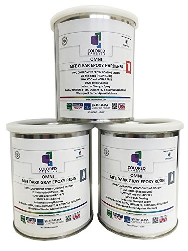 Coloredepoxies 10007 Dark Gray Epoxy Resin Coating Made with Beautiful and Vibrant Pigments, 100% solids, For Garage Floors, Basements, Concrete and Plywood. 3 Quart Kit (Kit Quart 3)