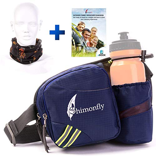 Shimonfly Hiking Waist Pack Waterproof Fanny Pack with Water Bottle Holder and Pockets for Large Smartphones | Waist Bag for Women and Men, Blue