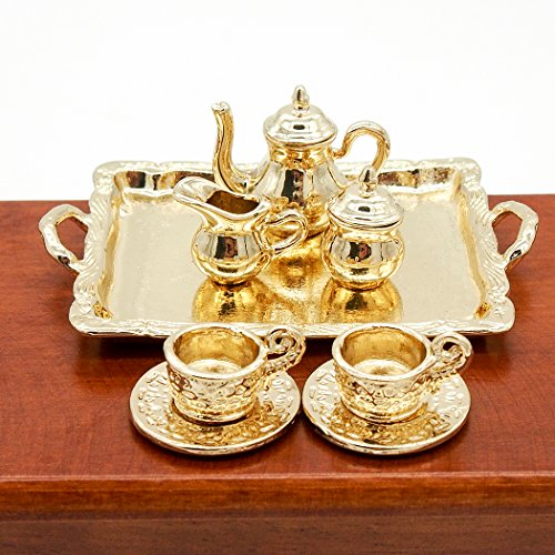 Odoria 1:12 Miniature 8PCS Vintage Golden Tea Cup Coffee Serving Set Dollhouse Kitchen Accessories (Vintage House Dolls)