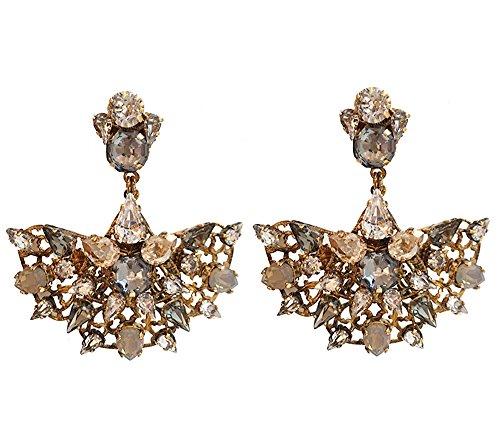 VICKISARGE Boucles d'Oreilles Plaqué Or Cristal Gris Femme