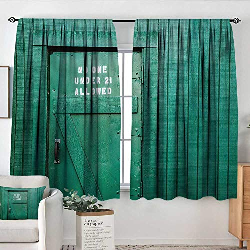 Teal Waterproof Window Curtain Monochrome Vintage Wooden Local Irish Pub Rustic Door with Warning Phrase Culture Photo Blackout Draperies for Bedroom 55