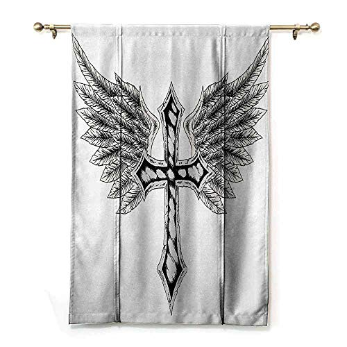 - DONEECKL Light Luxury high-end Curtains Gothic Heraldic Wing and Symbol Fable Feathers Faith King Heraldic Theme Artwork Print Durable W35 xL64 Black Cream