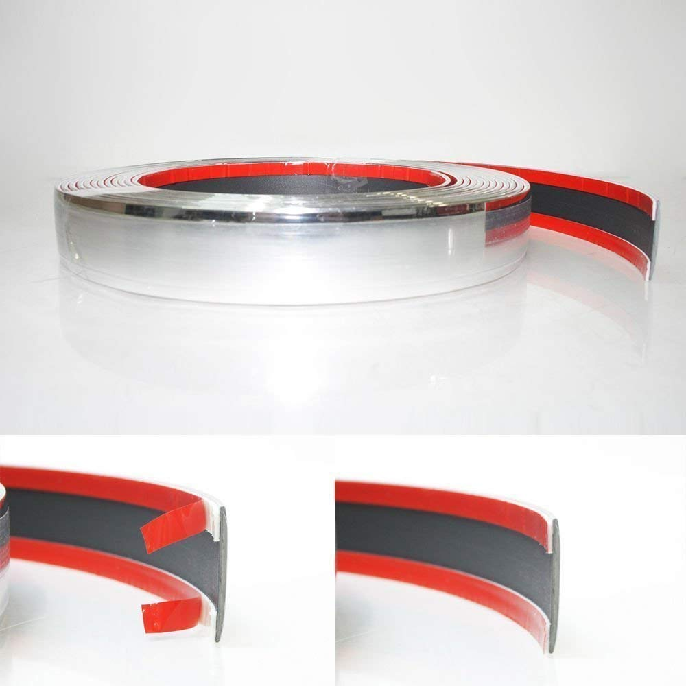 30mm x 5 meter Chrom Zierleiste Leisten Chromleiste Selbstklebend Flexibel Kunststoff Tuning Automarket22