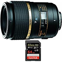 Tamron 90mm F/2.8 DI SP AF Macro 1:1 Lens For Canon EOS (AF272C-700) with Sandisk Extreme PRO SDXC 64GB UHS-1 Memory Card