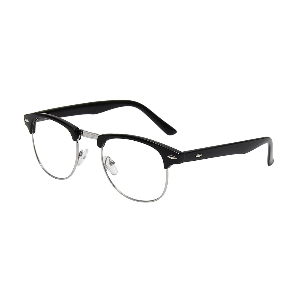 0f339407c9e Amazon.com  Shiratori New Vintage Classic Half Frame Semi-Rimless Clear  Lens Glasses black  Clothing