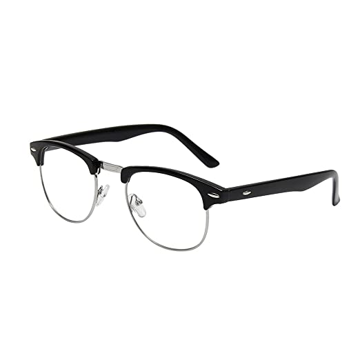 a84249f203 Shiratori New Vintage Classic Half Frame Semi-Rimless Clear Lens Glasses  black