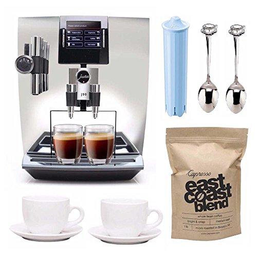 Jura 15142-JURA Impressa J90 Super Fully Automatic Espresso Machine (Chrome) Includes 2 Ceramic Cups, Jura Cartridge, Whole Bean Coffee and Demi Spoon