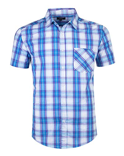 - SOOPO Mens Casual Regular Fit Short Sleeve Button Down Plaid Checked Shirts D-Blue L
