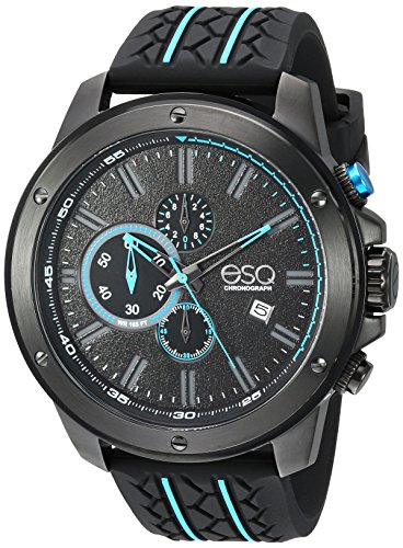 ESQ Men's 'Sport' Quartz Stainless Steel and Silicone Casual Watch, Color Black (Model: 37ESQE19301A)