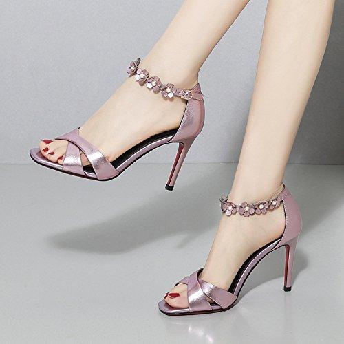 Fiori Da alti Alla Rosa pesce 39 9cm bocche Donna sottili di Sandali 37 tacchi Fashion Scarpe AJUNR Moda tacchi Fq5Pc