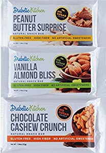 Diabetic Kitchen Snack Bars Satisfy Your Sweet Tooth with a Luxuriously Rich Bar Made with 100% All Natural Ingredients ● Gluten-Free, High-Fiber, Low-Carb, No Artificial Sweeteners (Box of 12)