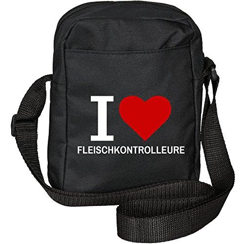 Umhängetasche Classic I Love Fleischkontrolleure schwarz