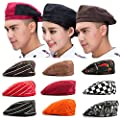 123Arts 3pcs Chef Work Unisex Adult Printing Chef Hat Beret Party Accessory