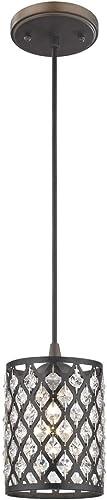 Crystal Bronze Phoenix Cord Hung Mini-Pendant Light