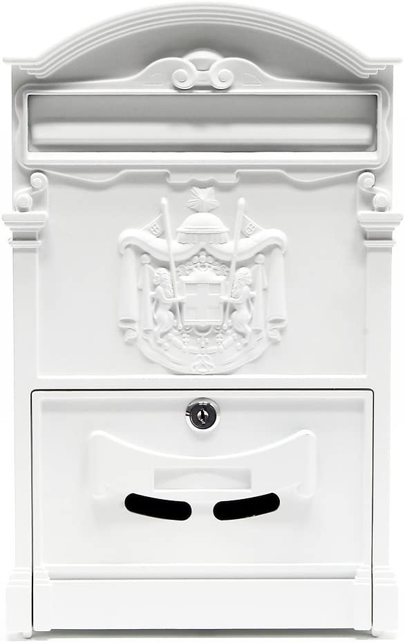 Buz/ón dise/ño Antiguo Decorativo Pared Blanco llaves Cerradura Placa Identificaci/ón