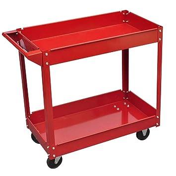 Festnight Carrito de Herramientas con Ruedas con 2 Estantes para Garaje Taller,Construcción de Acero Lacado,100 kg Rojo: Amazon.es: Hogar