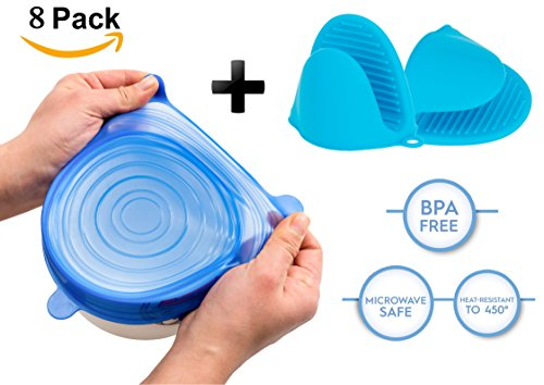 Silicone Stretch Lids with 2 Ovens Gloves Reusable, Durable and Expandable to Fit Various Sizes and Shapes of Containers. Superior for Keeping Food Fresh (blue)