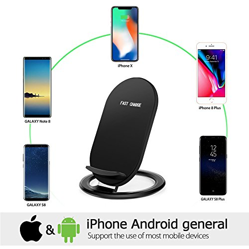 Hootech iPhone X Wireless Charger, QI Fast Wireless Charging Pad Stand, Standard Charge for Samsung Galaxy Note 8 S9 Plus S8 Plus S8 S7 S7 Edge Note 5, Standard Charge for iPhone X iPhone 8/8 Plus by Hootech (Image #4)